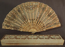 Victorian Antique Gold Sequin Beaded Silk Ballroom Dance Folding Fan & Box Vtg