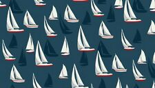 Fabric 100% cotton, Makower UK. Seaview Sail Boats Navy 1636/1