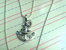"""Silver Snake Wrapped Anchor Charm Necklace 20"""" Sterling Silver Snake Chain"""