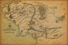 "Map Of Middle Earth The Lord Of The Rings Poster Fabric Print 24""x36"" Decor 3"