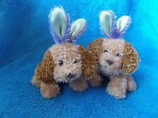 Lot of 2 * Galerie * Brown Puppy Dog * With Rabbit Ears * Easter * Plush Stuffed