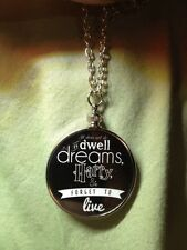 "Harry Potter Saying doublesided Charm Pendant ""It does not do to dwell"" Black B1"