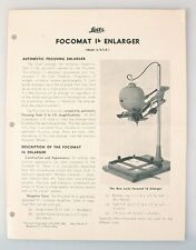 LEITZ FOCOMAT 1B ENLARGER INFORMATION