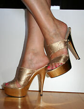 Sandali Sexy con tacco a spillo e zeppa color oro, numero 37