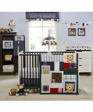 Kidsline Oxford Bear 8-Pc Crib Bedding Set Include Valance/Wall Art & Decals New
