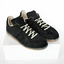 MAISON MARTIN MARGIELA 22 black trainers embossed velvet shoes sneakers 35 NEW