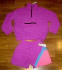 NEW Vtg 80s Vanderbilt Neon Purple Mens XS windbreaker TRACK SUIT Jacket Shorts