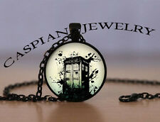 Dr. Who Police Box Paint Splash Fashion Jewelry Pendant Necklace Top quality