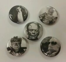 """5 1"""" Classic Monsters Dracula Frankenstein Wolfman Lugosi pinback badges buttons"""