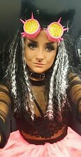 Womens cyber goth punk fancy dress costume cosplay raver whole outfit neon pink