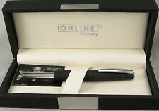 Online Germany Business Line Black Rubberized & Chrome Fountain Pen - New In Box