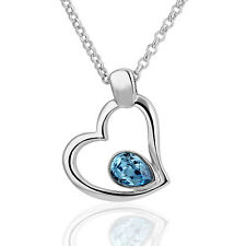 18K White GOLD GF Fashion Heart Shaped Pendant Necklace With SWAROVSKI Crystal