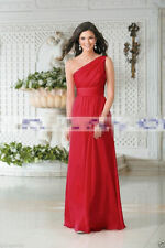 Long One Shoulder Chiffon Wedding Formal Evening Party Prom Bridesmaid Dress6-22