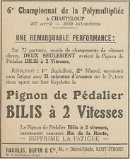 Z9608 Pignon de Pédalier BILIS -  Pubblicità d'epoca - 1924 Old advertising