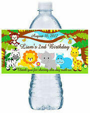 20 JUNGLE SAFARI ZOO BIRTHDAY WATER BOTTLE LABELS ~ Glossy ~ Waterproof INK