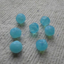 20 CZECH GLASS BEADS ~ 10MM AQUA ROUND ~ NUGGETS