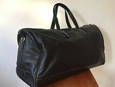 Coach Legacy Black Leather Weekender Travel Bag Duffle Contrast Stch Large $675