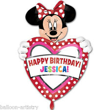 "24"" Disney Minnie Mouse Red Polka Dots Personalised Party Heart Foil Balloon"