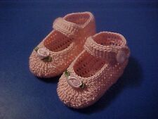 CROCHET HANDMADE BABY GIRL DOLL BOOTIES SHOES PINK MJ