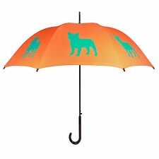 San Francisco Umbrella Company French Bulldog Umbrella - Turquoise on Orange