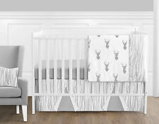 Bumperless Grey and White Woodland Deer Forest Outdoor Baby Boy Crib Bedding Set
