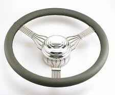 Stainless Steel Banjo DarkGrey Leather Wrap Steering Wheel Hot Rod Smooth Button