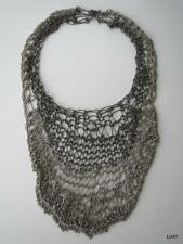$3k BRUNELLO CUCINELLI Sterling Silver Chainmail Lace Luxury Bib Necklace EUC