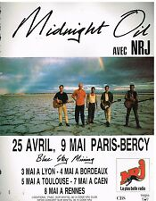 Publicité Advertising 1990 Concert Midnight Oil Paris Bercy