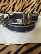 COACH F62354 Heritage Leather Sport Reversible Cut to Size Belt, Navy Blue  New