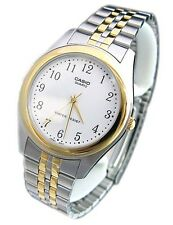 Casio Mens MTP1129G-7B Two-Tone Gold Stainless Steel Dress Watch White Dial NEW