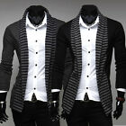 Men Casual Fashion Slim Striped Long Sleeve Coat Cardigan knitted Sweater MY04