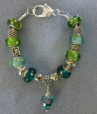 *Handmade Luxury Green Chunky Glass Lampwork Beaded Charm Bracelet- Great Gift*