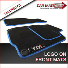 VW Golf MK4 TDI 97-04 Tailored Car Floor Mats Blue Trim + Logos (Round Clips)