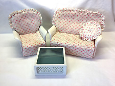 Sindy Doll Furniture Barbie Size Plastic Wicker Patio Set Chair Sofa Table