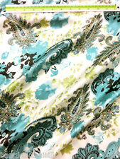 IVORY GREEN TURQUOISE PAISLEY Faux Silk Satin Fabric Dress Kimono Tablecloth