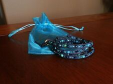 """NEW 30"""" 4X WRAP BRACELET Turquoise/Blues  Gift Bag Included!"""