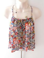 NEW Forever 21 Top Cream Blue Red Floral Ruffle Woven Blouse Casual Sexy Size L