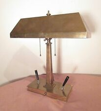 large antique heavy brass modernist electric desk table lamp writing pen holder