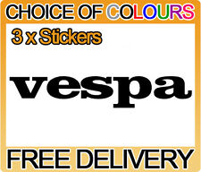 3 x Vespa Motorbike Tank Belly Pan Fairing Faring Sticker Decals, Any Colour