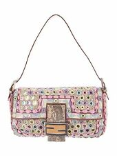 Authentic FENDI Limited Edition Embroidered Beaded Mirror Baguette