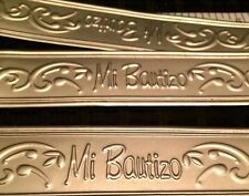 "7 Mi Bautizo Embossed Tin 7"" Length Silver Sign For Baptism Favors, Centerpieces"