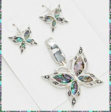 "Butterfly Insect Pendant Abalone Multi Color Metal Necklace Earrings 23"" Chain"