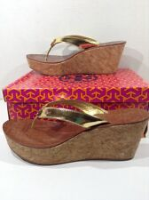 TORY BURCH Womens Thora Gold Flip Flop Thong Wedge Sandals Shoes Size 10.5