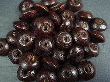 250+ 8mm round wood disc doughnut shaped brown beads