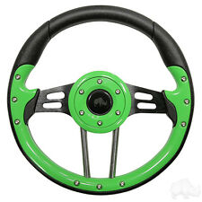 GOLF CART STEERING WHEEL LIME /BLACK FITS MOST GOLF CARTS(R)