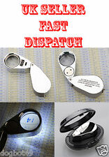 High Quality Illuminated Jewellers Loupe 40X 25mm Magnifying Magnifier LED & UV
