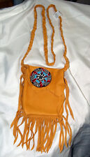 "5x5"" Leather Fringed Leather Bag w/ Rosette & Braided Strap Native American SJ04"