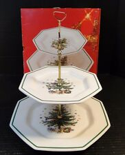 Nikko Christmastime Two Tier Tray Christmas Tree Pattern in Original Box