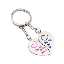 1 Pair Hot Latest Lover Couple Love Heart Key Ring Keychain Keyfob Gift Keyring