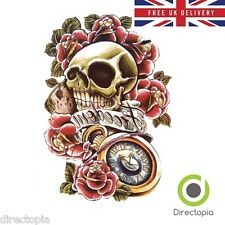 Large Waterproof 3D Traditional Skull & Roses Temporary Tattoo Sticker Art